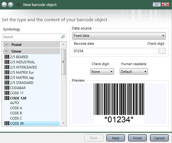 Barcode generator wizard