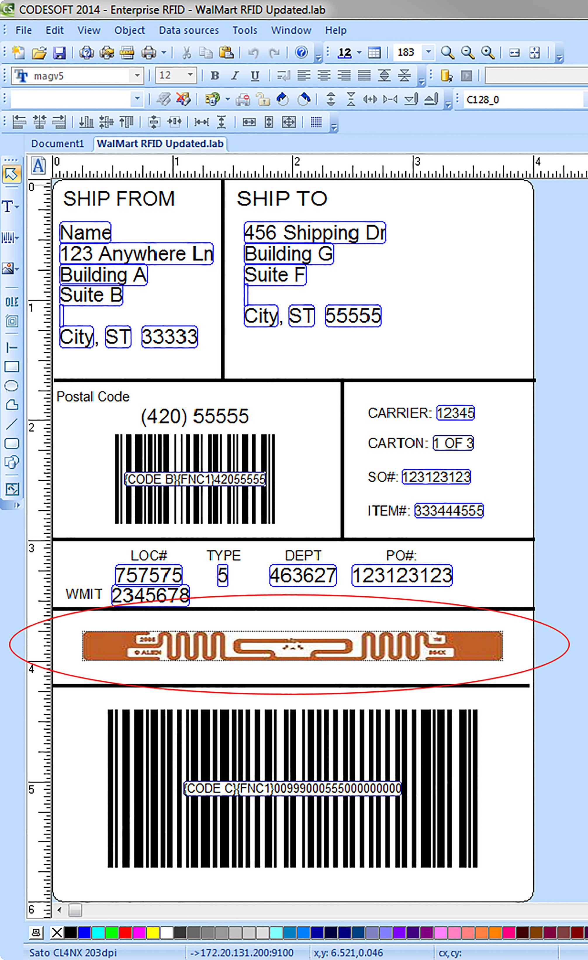 RFID label in CODESOFT Enterprise RFID label software