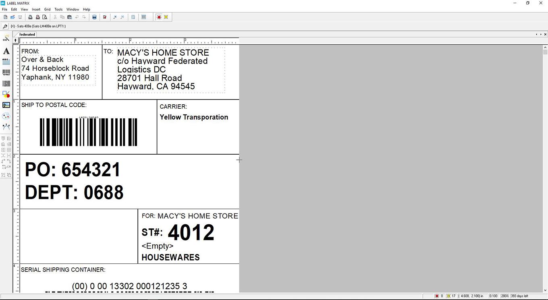 Software de diseño de etiquetas de código de barras LABEL MATRIX